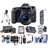Canon EOS 77D DSLR with EF-S 18-55mm F4-5.6 IS STM Lens - Bundle with 32GB SDHC Card, Camera Bag, Tripod, Compact Charger, Remote Shutter Release, Flip Flash Bracket, Software Package And More