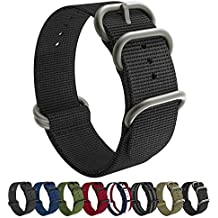 Emibele 20mm Universal Watch Band, Fine Woven Nylon with Stainless Steel Buckle Adjustable Replacement Band for 20mm Sport Strap, Black