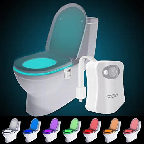 WEBSUN Motion Activated Toilet Night Light 8 Color Changing Led Toilet Seat Light