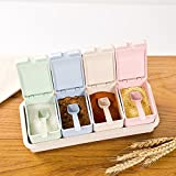 Candyqueen 1Pcs Kitchen Seasoning Cans Salt Sugar Bowl Condiment Box Set With 4 Spice Jars Storage Container