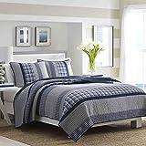 Nautica 210470 Adleson Cotton Pieced Quilt, King, Blue/Grey