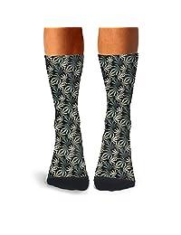 Men's Cannabis Green Leaf compression sweat-absorbent funny socks hiking art calf socks