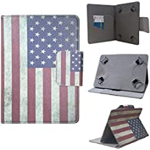 """ezCASE - ZEKI TBQG8 8"""" 8 inch USA American Flag Universal Folio Faux Leather Protector Case Cover for 7"""" inch Tablets, Multi-angle Stand, Card, Cash, Passport Slots - Fits most Tablets"""