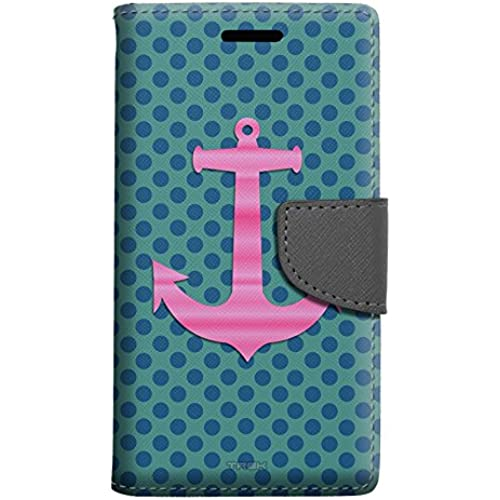 Samsung Galaxy S7 Edge Wallet Case - Pink Anchor on Blue Dots Case Sales
