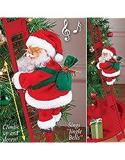 Juguete eléctrico de escalada de Papá Noel en escalera con luces, escalera de escalada de Papá Noel, creativos adornos de Navidad para decoración de árbol de Navidad, juguetes para fiestas de Navidad, decoración de pared de la puerta del hogar