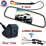 "Auto Wayfeng WF® 3 in 1 HD CCD Wireless Backup Reversing Camera + 5"" HD Car Mirror Monitor, Rear View Mirror Monitor with Wireless Car Parking Rearview Camera, Black"