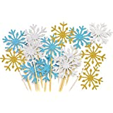 Topfun 30 Counts Snowflake Cupcake Toppers Glitter Cake Topper Picks for Christmas Kid's Birthday Party Baby Shower Wedding Cake Decoration (Blue&Gold&Silver)