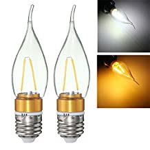 E27 E14 E12 B22 B15 2W LED Filament Edison Plastic&Aluminum Pure White Warm White Light Bulb AC220V (Random: Base Color)