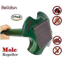 Mole Repeller - Belidan 2 Pack Solar Mole Repeller - Gopher Repellent Ultrasonic Mole Repellent Snakes Rodent Mice Rat Vole Trap Deterrent Outdoor Chaser as good as Mole Poison Mole Killer Mole Trap