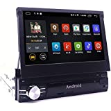 YODY Android Single Din Car Stereo Navigation 7 Inch Capacitive Touch Screen Support Bluetooth WiFi GPS Mirror Link USB/SD/AM/FM Android Car Radio with Backup Camera and Microphone