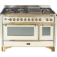 48 - 7 Burner Dual Fuel Range + Griddle with Convection Oven Finish: Antique White