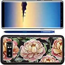 Luxlady Premium Samsung Galaxy Note8 Aluminum Backplate Bumper Snap Case IMAGE ID: 33705267 Beautiful vector watercolor pattern with peonies on black fon