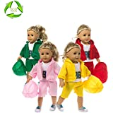 Dolls Clothes and Accessories American Dolls Clothes Fits 18 Inch American Girl Doll Clothes Our Generation Journey Girls Madame Alexander Sophia's alike sports suit hat coat clothes trousers (pink)