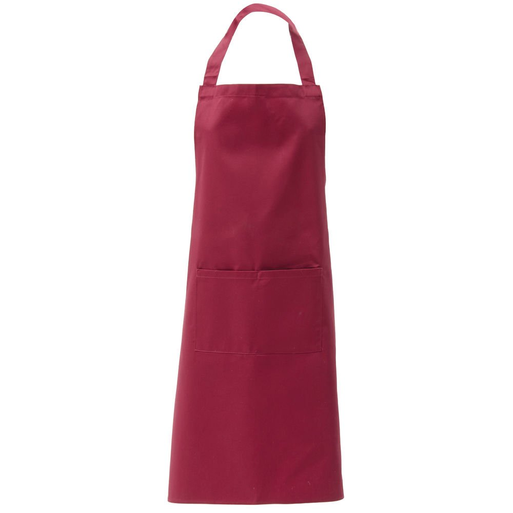 "HUBERT Burgundy Poly Cotton 2-Pocket Bib Apron - 38""L x 28""W"