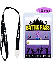 Video Game Party Supplies Battle VIP Pass Tickets, Gamer Party VIP Pass Lanyards, Cards and Card Holders for Kids Gaming Themed Birthday Party Supplies Decorations (12 PACK)