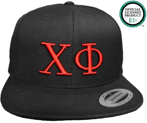 CHI PHI Flat Brim Snapback Hat Red Letters / Chi Phi Frat | Fraternity Cap