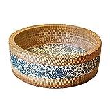 HIZLJJ Embarcaciones de cerámica Redondo Fregadero Marbling Modelo artístico Encima de Barra de baño Cuenca vanidad Plato for lavamanos