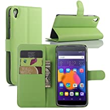 Fettion Alcatel OneTouch Idol 3 (4.7) Case, Premium PU Leather Wallet Flip Case Cover with Stand Card Holder for Alcatel OneTouch Idol 3 Mobile Phone (4.7 Inch Version) (Wallet - Green)