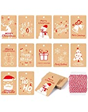 KUUQA 120Pcs Christmas Gift Tags Festival Kraft Paper Card for Christmas Gift Wrapping Label with Hanging Rope, 12 Different Styles