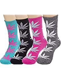 Weed Socks Marijuana Leaf Crew Socks for women 4 Pairs Pack Fit for shoe size 7-11