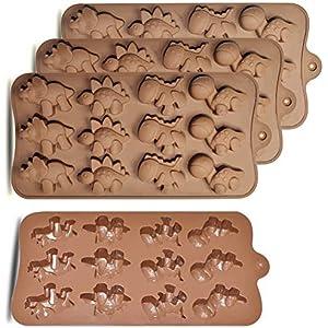 HomEdge - Molde de silicona para bombones de dinosaurio (12 cavidades, 4 unidades,