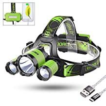 Sunix Leo 21 Super Bright Micro USB Rechargeable LED Headlamp -As 4400mAh Power Bank - 4 Lightging Modes with SOS Whistle Perfect for Running, Walking, Camping, Reading, Hiking, + 2 PCS 18650 Rechargeable Batteries +Micro USB Cable Included (Green)