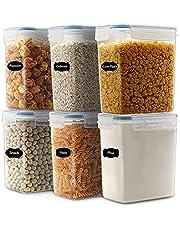 Robernet 1,6 L förvaringsbehållare för flingor, lufttät matförvaringsbehållare, torrmatbehållare, BPA-fritt kök skafferiorganisation för socker, mjöl, set med 6 med 12 etiketter
