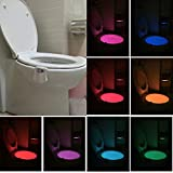 Led Toilet Seat Toilet Night Light, NnxDeal LED Toilet Seat Light, Glow Bowl Motion Activated Detected Auto Sensor Detection Waterproof Colorful for Home Bathroom Washroom WC with 8 Colors Changing