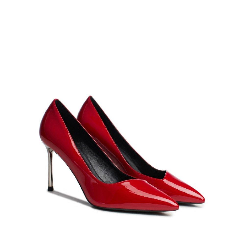 Snfgoij Rote High Heels der Frau Arbeiten Sexy Arbeit Partei-Nachtklubgerichtsschuhe Um Die Lackleder Wedding Sind,rot-8cm-EU 39 UK 6.5