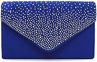 Adealink Women Messenger Bags Simple Fashion Solid Color Rhinestone Decoration Chain Handbag Ladies Party Clutch Bag