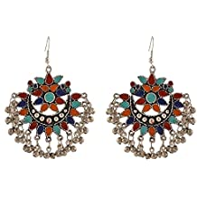Crunchy Fashion Stylish Bollywood Indian Jewelry Oxidised Silver Afghani Tribal Fancy Party Wear Earrings for Women for Girls and Women