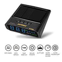 AUTOOL Solar GPS HUD Speedometer MPH/KMH Head Up Display Speed Gauge with Altitude Over Speed Alarm Drive Distance Display Fatigue Driving Alarm for All Vehicles, OBD2 Charging & USB Charging Available