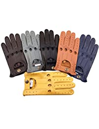 Slim Fit Retro Style Soft Real Leather Men's Driving Gloves Unlined Chauffeur 507