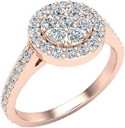 Dainty Flower Cluster Diamond Halo Engagement Ring 0.78 ctw 14K Gold (I,I1)