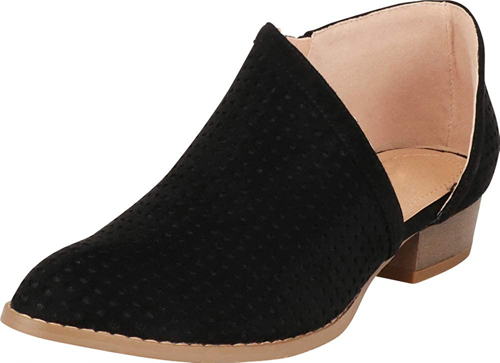 Black Imsu Cambridge Select Women's Pointed Toe Open Shank Side Cutout Perforated Shootie Ankle Bootie
