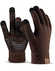 Winter Knit Gloves For Men And Women, Touch Screen Texting Soft Warm Thermal Fleece Lining Gloves With Anti-Slip Silicone Gel