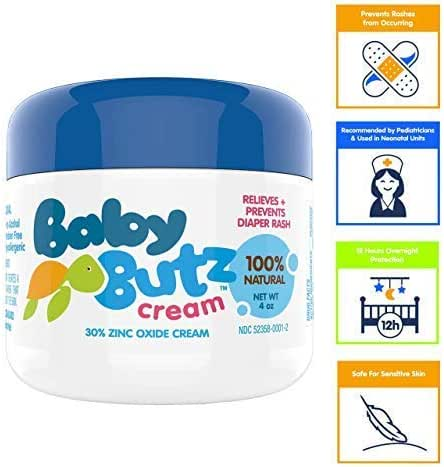 Baby Butz Diaper Rash Cream (4.0 oz.) All Natural 30% Zinc Oxide Diaper Rash Butt Paste - Heals Diaper Rash Quickly & Safely - Hypoallergenic, Fragrance-Free, Great for Sensitive Skin