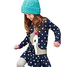 Chinatera Little Girls Long Sleeve Princess Shirt Dress Deer Polka Dots Clothes
