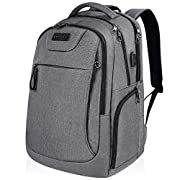 #LightningDeal KROSER Laptop Backpack for 15.6-17.3 Inch Laptop Anti-Theft Large Computer Backpack with USB Charging Port Water-Repellent Casual Daypack for Travel/Business/College/Men/Women