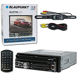 Discount Blaupunkt Austin 440 Car Audio 1DIN Motorized Flip Out 7' Touchscreen DVD MP3 CD Stereo Bluetooth + Remote & DCO Waterproof Backup Camera with Nightvision
