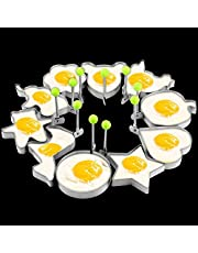 10 Pack Stainless Steel Fried Egg Rings Set Egg Form Mold Egg Shaper Pancake Maker Egg Pancake Ring Mold Frying Cooking Tools for Griddle Pan