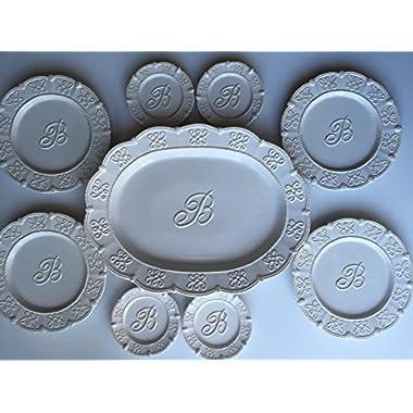Serving Platter with Monogrammed Center Initial  B  / 4 Desert Plates + BONUS 4 Accent Plates - Mud Pie