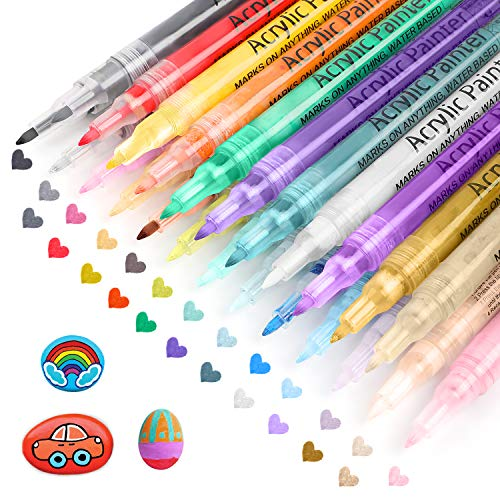 Paint Markers,Acrylic Paint Pens,Set of 24 Colors,Paint Pens for Acrylic Painting,Rock Painting Kit,Water Based,Great for Christmas Ornaments