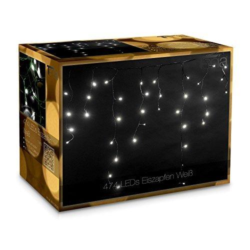 Tenia - Cortina Cascada de luces LED carámbano Iluminación navideña 7m Blanco Frío 474 microbombillas LED