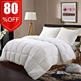 EDILLY Ultra-Soft White Down Alternative Quilted Comforter-Queen Size-Year Round-Duvet Insert with 4 Corner Tabs-Plush Microfiber Fill-Box Stitched-Hypoallergenic-Fluffy,Warm-88''x 88''-White