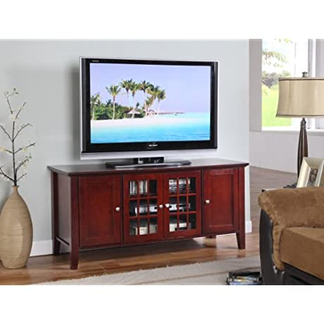 King S Brand E002 Wood Plasma TV Console Stand Entertainment Center Dark Cherry
