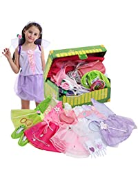 Girls Princess Dress up Trunk Bride, Princess, Ballerina, Fairy Costume Set for Little Girls Toddlers Age Age 3-7 Pink