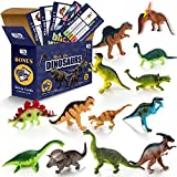 Tiny Learners Realistic Looking Dinosaurs - Pack of 13 Large Dinosaur Figures with Educational Trivia Cards - Dinosaur Adventure Figures- Jurassic Prehistoric Dinosaur PVC Figurines