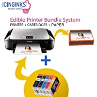 Canon Edible Printer Bundle Comes with Refillable Edible Cartridges and 20 Wafer Sheets,Canon Pixma MG6820 (Wireless+Scanner) , Best Edible Image Printer, Edible Printer For Cakes