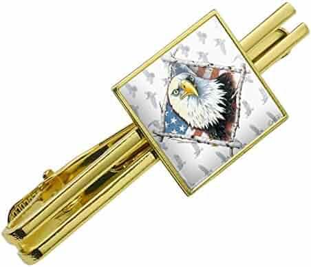 f28a04ffee46 Patriotic Bald Eagle Diamond American USA Flag Square Tie Bar Clip Clasp  Tack- Silver or